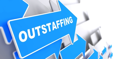 peo: Outstaffing - Business Background  Blue Arrow with  Outstaffing  Slogan on a Grey Background  3D Render