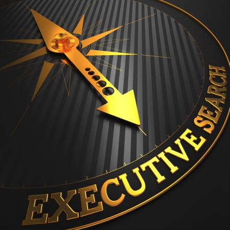 executive job search: Executive Search - Business Concept  Golden Compass Needle on a Black Field Pointing to the Word  Executive Search   3D Render  Stock Photo