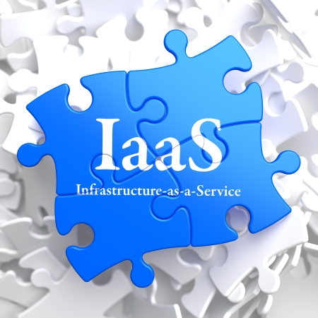 self communication: IAAS - Infrastructure-as-a-Service - Written on Blue Puzzle Pieces  Information Technology Concept  3D Render