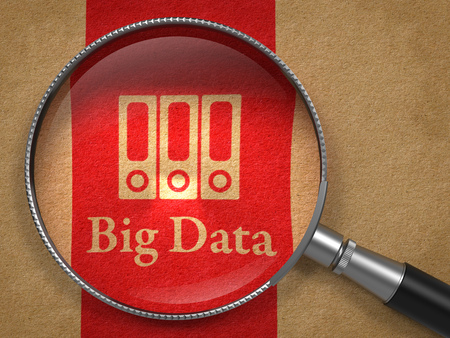 big data: Big Data Concept  Magnifying Glass with Word Big Data and Icon of Servers on Old Paper with Red Vertical Line Background  Stock Photo