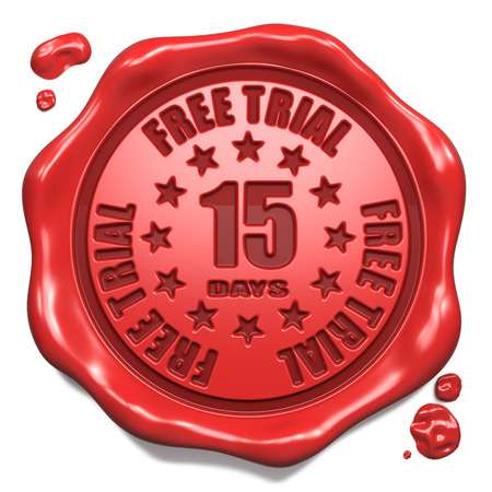 Free Trial 15 Days - Stamp on Red Wax Seal Isolated on White  Business Concept  3D Render  photo