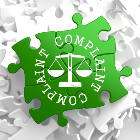 Complaint Word Written Arround Icon of Scales in Balance, Located on Green Puzzle Pieces  Business Concept  photo