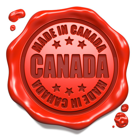 canada stamp: Made in Canada - Stamp on Red Wax Seal Isolated on White  Business Concept  3D Render