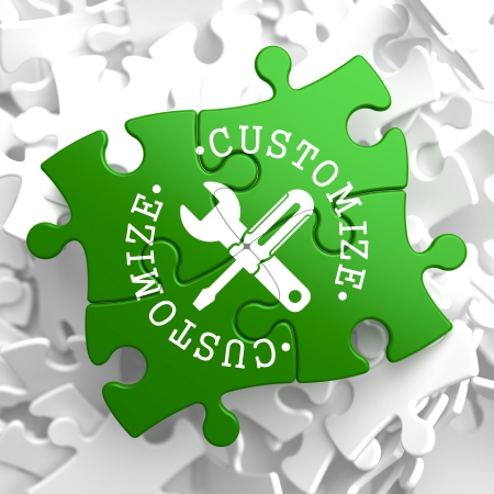 Customize Written Arround Icon of Crossed Screwdriver and Wrench on Green Puzzle Pieces  Service Concept  photo