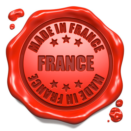 Made in France - Stamp on Red Wax Seal Isolated on White  Business Concept  3D Render  photo