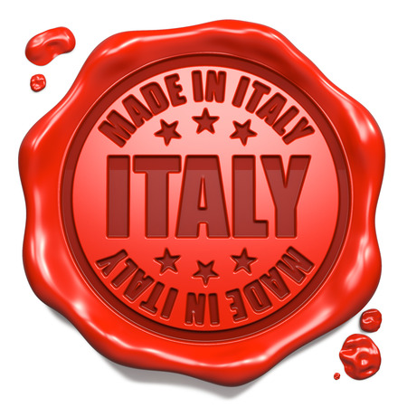 transnational: Made in Italy - Stamp on Red Wax Seal Isolated on White. Business Concept. 3D Render. Stock Photo