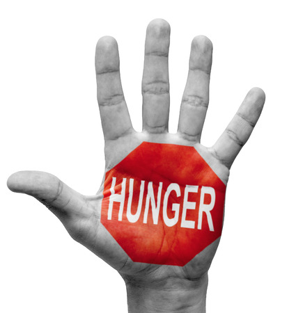 starvation: Hunger - Raised Hand with Stop Sign on the Painted Palm - Isolated on White Background.