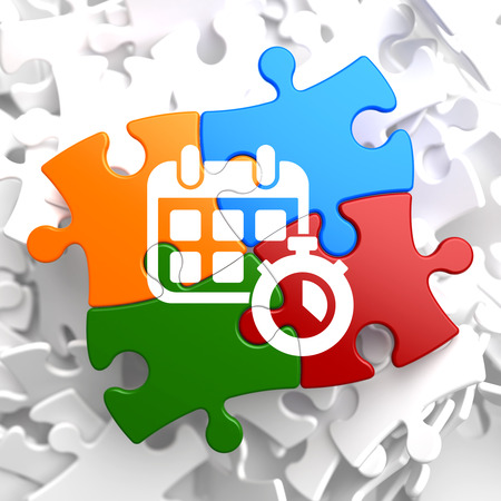 Time Concept.  Icon of White Calendar with Timer on Multicolor Puzzle. Stock Photo
