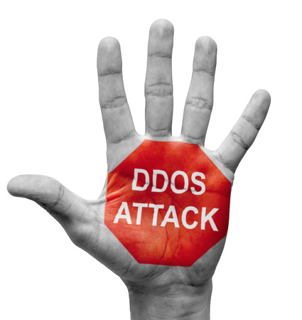 shutdown: DDoS Attack - Raised Hand with Stop Sign on the Painted Palm - Isolated on White Background.