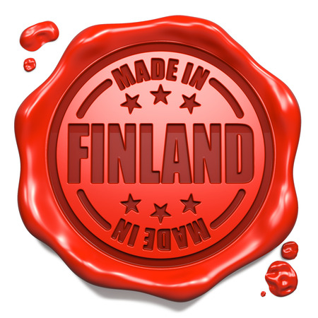 transnational: Made in Finland - Stamp on Red Wax Seal Isolated on White. Business Concept. 3D Render.