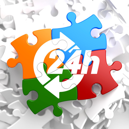 24 hours: 24 Hours Icon on Multicolor Puzzle. Service Concept.