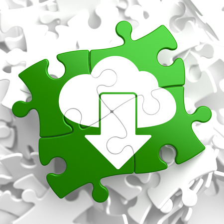Cloud with Arrow Icon on Green Puzzle. IT Concept. photo
