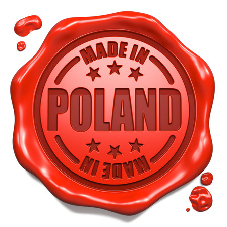 made in: Gemaakt in Polen - Stempel op rode lakzegel geïsoleerd op wit. Business Concept. 3D Render. Stockfoto