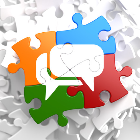 White Speech Bubble Icon on Multicolor Puzzle. Communication Concept. Stock Photo - 23101562