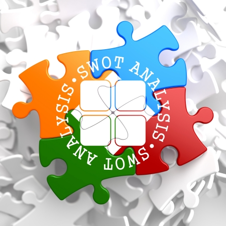 SWOT Analisis Written Arround Icon on Multicolor Puzzle. Business Concept. photo