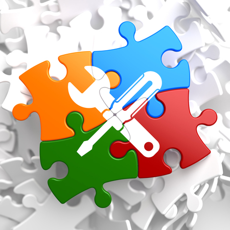 Service Concept - Icon of Crossed Screwdriver and Wrench - Located on Multicolor Puzzle. Business  Background. photo