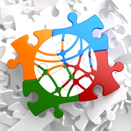 microblogging: Social Network Icon on Multicolor Puzzle. Communication Concept.