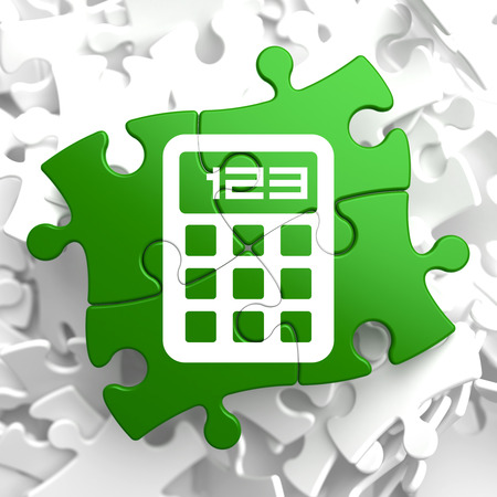 Icon of Calculator on Green Puzzle. photo