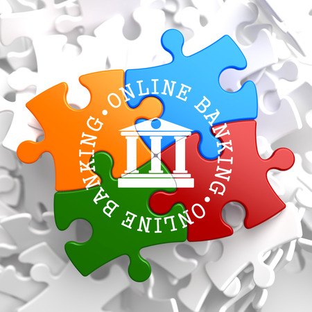 Online Banking on Multicolor Puzzle. Business Concept. photo