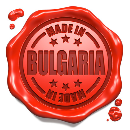 Made in Bulgaria - Stamp on Red Wax Seal Isolated on White. Business Concept. 3D Render. photo