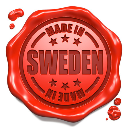 transnational: Made in Sweden - Stamp on Red Wax Seal Isolated on White. Business Concept. 3D Render.