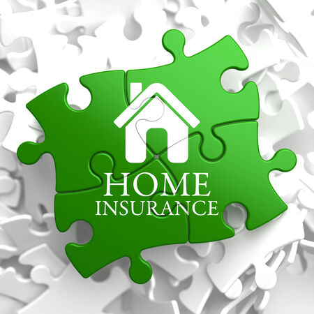 Home Insurance Inscription with Home Icon on Green Puzzle. Business Concept. photo