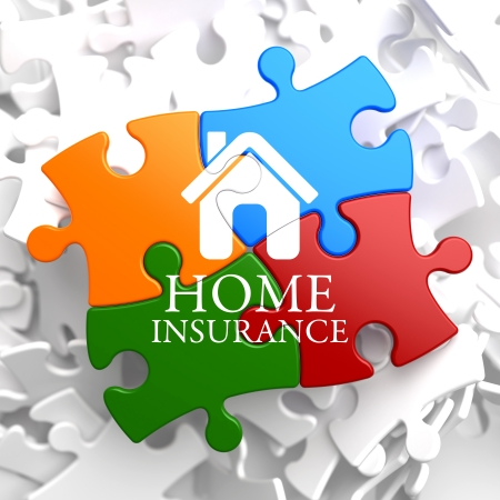 Home Insurance Inscription with Home Icon on Multicolor Puzzle. Business Concept. photo