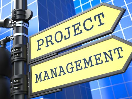 Project Management Words on Yellow Roadsign on Blue Urban Background. Business Concept. 3D Render. photo
