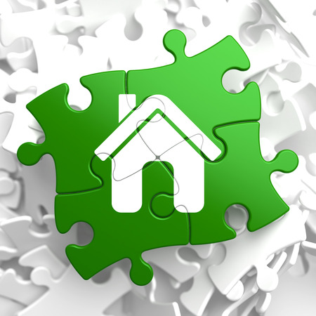 rentals: Home Icon on Green Puzzle.