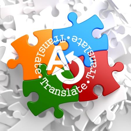 interpreter: Translate on Multicolor Puzzle. Communication Concept. Stock Photo