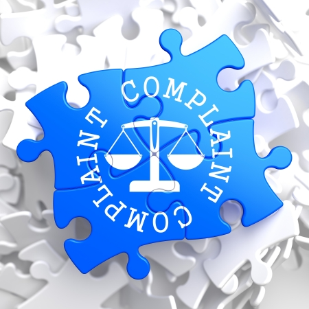 Complaint Word Written Arround Icon of Scales in Balance, Located on Blue Puzzle. Business Concept.