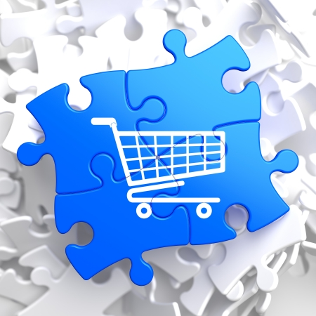 Icon of Shopping Cart on Blue Puzzle. photo