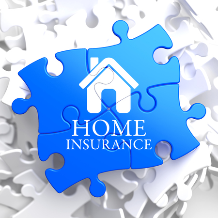 Home Insurance Inscription with Home Icon on Blue Puzzle. Business Concept. photo