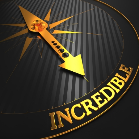 adjective: Incredible - Business Background. Golden Compass Needle on a Black Field Pointing to the Word Incredible. 3D Render. Stock Photo