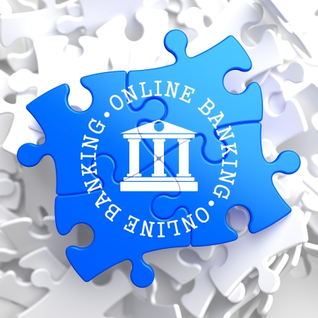 Online Banking on Blue Puzzle. Business Concept. photo