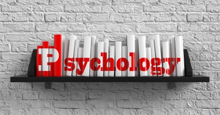 scientific literature: Psychology - Red Inscription on the Books on Shelf on the White Brick Wall Background. Education Concept.