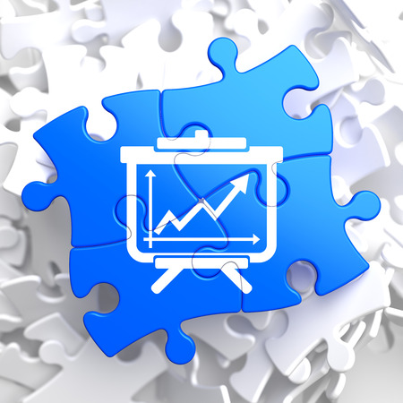 Flipchart with Growth Chart Icon on Blue Puzzle. Business Concept. photo