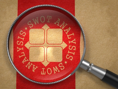 Magnifying Glass with SWOT Analisis Written Arround Icon on Old Paper with Red Vertical Line Background. Psychological Concept photo