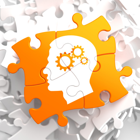 hypnosis: Psychological Concept - Profile of Head with Cogwheel Gear Mechanism Located on Orange Puzzle. Stock Photo