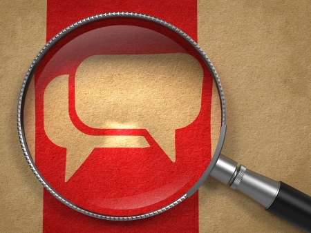 Magnifying Glass with Speech Bubble Icon on Old Paper with Red Vertical Line Background. Communication Concept. Stock Photo - 23512730