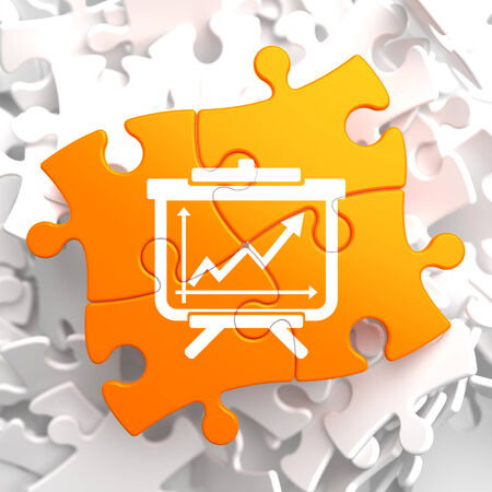 Flipchart with Growth Chart Icon on Orange Puzzle. Business Concept.