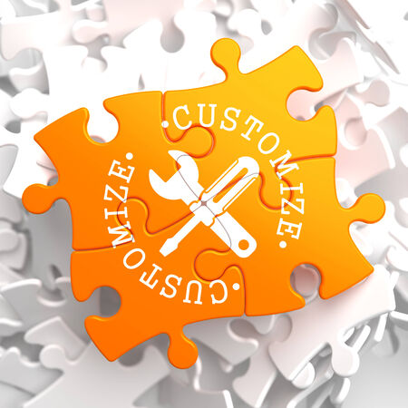 Customize Written Arround Icon of Crossed Screwdriver and Wrench on Orange Puzzle. Service Concept. Stock Photo