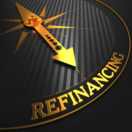 Refinancing - Business Background. Golden Compass Needle on a Black Field Pointing to the
