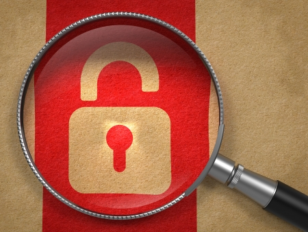 Magnifying Glass with Icon of Opened Padlock on Old Paper with Red Vertical Line Background. Security Concept. photo