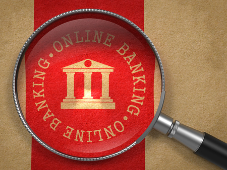deposite: Magnifying Glass with Online Banking Icon on Old Paper with Red Vertical Line Background. Business Concept. Stock Photo