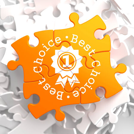 Best Choice Written Arround Icon of Award on Orange Puzzle. Business Concept. photo