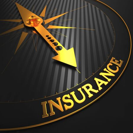 insurer: Insurance - Business Background. Golden Compass Needle on a Black Field Pointing to the Insurance Word. Stock Photo