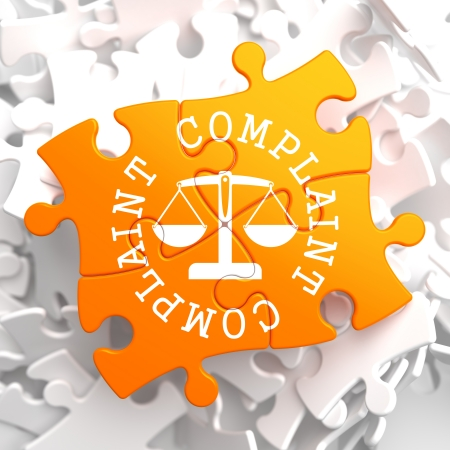 Complaint Word Written Arround Icon of Scales in Balance, Located on Orange Puzzle. Business Concept.
