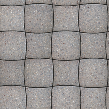 concave: Gray Pavement of Concave and Convex Quadrilaterals. Seamless Tileable Texture. Stock Photo