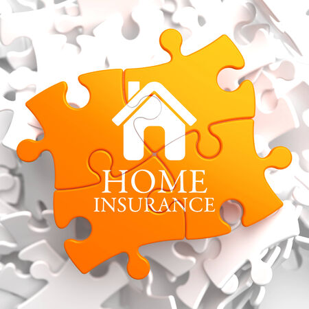 Home Insurance Inscription with Home Icon on Orange Puzzle. Business Concept. photo